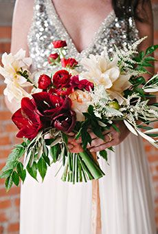 Brides: Red and White Bouquet of Lilies and Roses. A red bouquet of lilies, mums, and roses, with pops of white and green, created by Bows & Arrows Flowers. Red Bouquet Wedding, Winter Wedding Flowers, Purple Wedding Flowers, Bridal Flowers, Floral Wedding, Trendy Wedding, Bridal Bouquets, Wedding Ideas, Geek Wedding