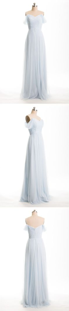 pale sky blue long tulle bridesmaid dresses for fall wedding
