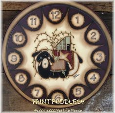 PRIMITIVE SHEEP CLOCK EPATTERN by paintpuddlesdesigns on Etsy, $6.00