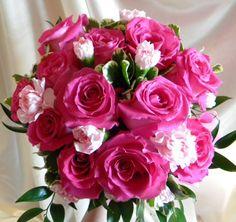 Hot pink handheld bouquet prom/wedding