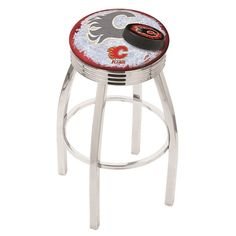 Calgary Flames NHL D2 Chrome Ribbed Ring Bar Stool. Available in 25-inch and 30-inch seat heights. Visit SportsFansPlus.com for details.