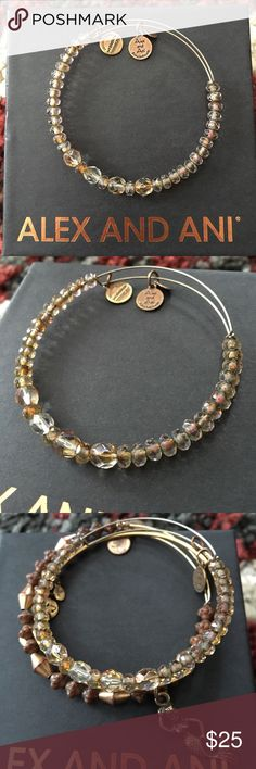 Alex and Ani champagne colored beaded bracelet Champagne colored glass beads on a gold wire. I cannot remember the name of the bracelet but it was a retired a few years ago. Some tarnishing from age but still sparkles and reflects light beautifully. Looks great in a set! Alex & Ani Jewelry Bracelets