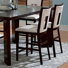 Steve Silver Company Delano White Vinyl Counter Height Dining Chair in Espresso