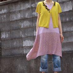 dress + asymmetrical cardigan