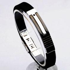 Jewelry for Men/Mens Black Bracelet for Men/Mens Silicone Bracelet /Mens Stainless Steel Bracelet/Gift for Him/Valentines Day Gift for Him