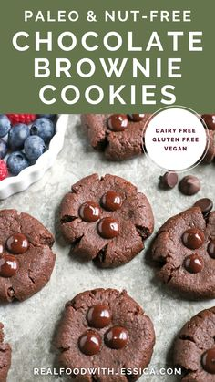 These Paleo Nut-Free Chocolate Brownie Cookies have only 3 ingredients and are so easy to make. They are rich and super chocolatey. Sweetened only with dates and they also are gluten free, dairy free, egg free, and vegan. Paleo Chocolate Brownies, Dairy Free Chocolate, Chocolate Cookies, Real Food Recipes, Cookie Recipes, Paleo Recipes, Free Recipes, Delicious Recipes, Coconut Oil Fudge