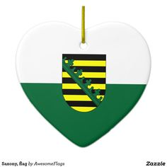 Saxony, flag ceramic heart decoration