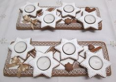 Wooden Christmas Trees, Biscotti, Pavlova, Gingerbread, Candle Holders, Food And Drink, Xmas, Sweets, Candles