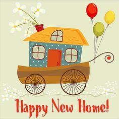 "Cute ""Happy New Home"" card, digital card, clip-art, printable, card, vector card, instant download, happy birthday, vector art"