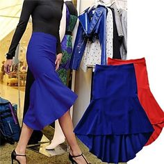 Women  Spring Autumn  Cotton  Blue Red Skirts - USD $ 67.19