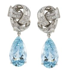 Aquamarine Diamond Platinum Pear Shaped Drop Earrings | From a unique collection of vintage drop earrings at https://www.1stdibs.com/jewelry/earrings/drop-earrings/