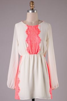 Long sleeve woven dress with lace detailing