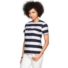 Gap Top Dark navy blue and white stripes. Almost looks black. Purchased but never worn. NEW WITH TAGS. Exposed zipper in back. GAP Tops Blouses