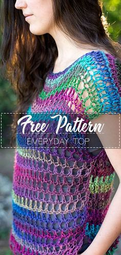 Everyday Top – Pattern Free See other ideas and pictures from the category menu…. Crochet Gratis, Cute Crochet, Beautiful Crochet, Easy Crochet, Knit Crochet, Crochet T Shirts, Crochet Blouse, Crochet Clothes, Crochet Quilt