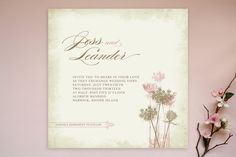 (blue not pink flowers) Rustic Queen Anne Wedding Invitations by Brynn Rose Designs at minted.com