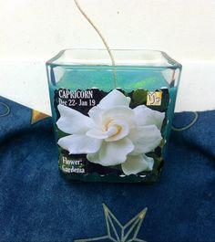 Capricorn Flower Gardenia Astrology Candle by IstarAndFlameCandles