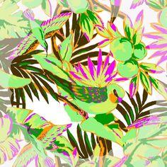 yukikohanaiさんはInstagramを利用しています:「fabric トロピカル バード #yukikohanai #ユキコハナイ #花井幸子 #fashion #hanaifabric #たおやかに美しく #instagood #summer #resort #palmtree #island #bird #ヤシの木 #🌴 #鳥…」
