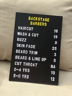Letter pin board pricelist for barbers
