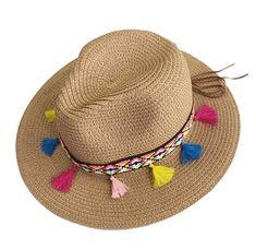3473e6f2b Summer Hats For Women Straw Wide Brim Color Tassel Chain Men Panama Beach  Bucket Sun Hat