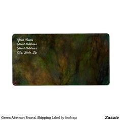 Green Abstract Fractal Shipping Label