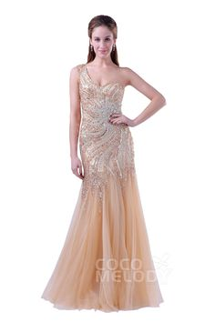 Delicate Trumpet-Mermaid One Shoulder Floor Length Tulle Veiled Rose Sleeveless Side Zipper Evening Dress with Beading and Crystals COSF15002Cocomelody#promdresses#formalpartydress#