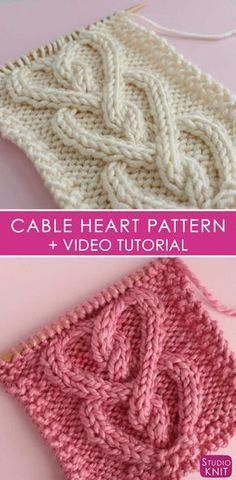 How to Knit a Cable Heart Free Knitting Pattern + Video Tutorial by Studio Knit Knitting Stiches, Knitting Patterns Free, Knit Patterns, Free Knitting, Stitch Patterns, Knit Stitches, Knitting Tutorials, Afghan Patterns, Knitted Heart Pattern