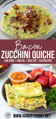This crustless bacon zucchini quiche is a high protein low carb breakfast fit for special occasions or weekly meal prep! #glutenfree #lowcarb #bacon #breakfast #mealprep #healthyrecipes #highprotein #hungryhobby