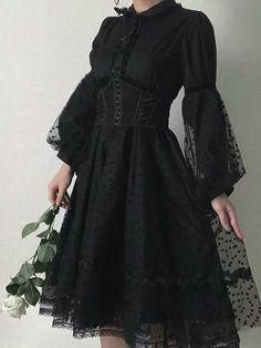Gothic Fashion 514677063665592433 - Punk Rave Black Gothic Lolita Puff Sleeves Dress Source by melaniebaubias Gothic Lolita Fashion, Gothic Outfits, Edgy Outfits, Mode Outfits, Fashion Outfits, Fashion Fashion, Punk Dress, Goth Dress, Grunge Dress