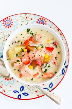 Light Salmon and Potato Chowder... A hearty soup that doesn't blow the calorie bank! 322 calories and 8 Weight Watchers PP | cookincanuck.com #recipe