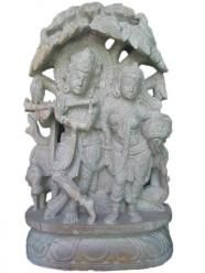 Radha Krishna Playing Flute Gorara Stone Sculpture $485.00