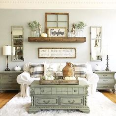 Coffee table, shelf, couch...a symmetrical, very soothing arrangement