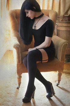 Nyctophilia by Mahafsoun Photography / People Portraits / Glamour Portraits © 2014 goth gothic vampire alternative lolita dark makeup dress skirt heels beautiful pretty sexy hot girl woman fetish Alternative Mode, Alternative Fashion, Goth Beauty, Dark Beauty, Hot Goth Girls, Hot Girls, Dark Fashion, Gothic Fashion, Mode Sombre