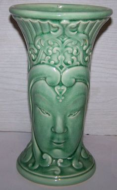 "Antique Estate Red Wing Art Pottery Buddah Asian Raised Face Jade Green 10"" Vase 