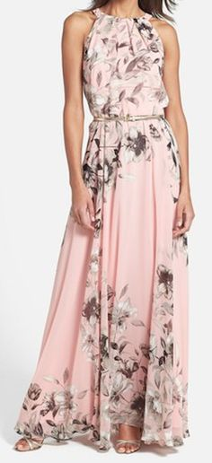 sweet pink belted chiffon gown