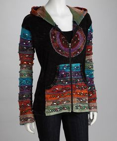 Take a look at this Black Rainbow Scroll Zip-Up Hoodie by It's in the Details Collection on #zulily today!
