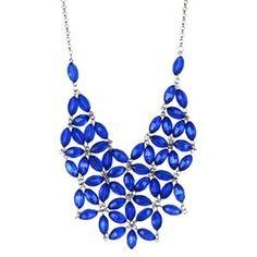 "Women's Statement Necklace - Blue/Silver (18"")"