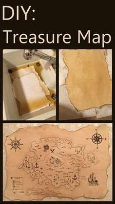DIY: Pirate Map How to create an antique looking paper or scroll and how to draw a treasure map. Easy steps for creating an authentic looking old pirate map. Treasure Maps For Kids, Pirate Treasure Maps, Pirate Maps, Pirate Theme, Activities For Kids, Crafts For Kids, Pirate Activities, Kids Diy, Map Crafts