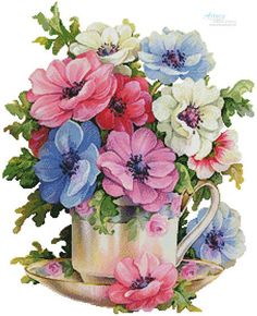 Draw Flower Patterns Everything Cross Stitch - Anemone Teacup Art Floral, Floral Prints, Everything Cross Stitch, Plant Drawing, Counted Cross Stitch Patterns, Cross Stitches, Cross Stitch Flowers, Fabric Painting, Vintage Flowers