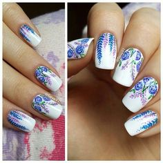 I love, love, live this blue and purple floral nailart!