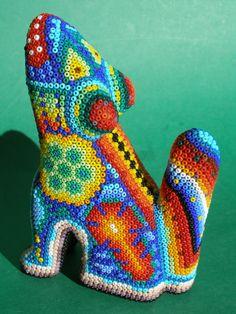 Huichol Wood Coyote Mexican Folk Art, Indian Art, Bead Art, Mosaic Tiles, Beaded Embroidery, Nativity, Native American, Beading, Mexican
