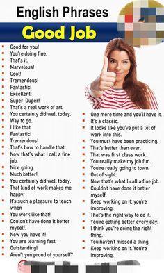 Different Ways to Say Good Job, English Phrases Sa English Learning Spoken, Teaching English Grammar, English Writing Skills, English Language Learning, English Conversation Learning, English Teaching Materials, Language Arts, English Sentences, English Phrases
