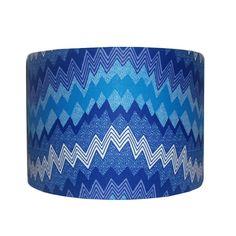 Blue Geeky Shockwaves Lampshade 30cm Drum by DetolaAndGeek on Etsy