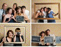 """Love this DIY photo """"booth"""". Give your guests some props and let them do the work.  This is a fun way to create a great guest book."""