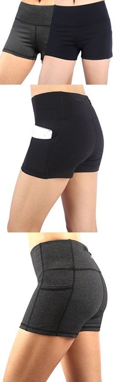 Neonysweets Womens Yoga Short Pants Exercise Workout Running Shorts Black/Gray 2 Pack X