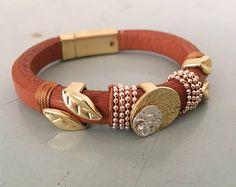 Women's Wrap Boho bracelet,leather bracelet with magnet,leave shape fashion bracelet, wrap bracelet,leather wrap bracelet,leather bracelet