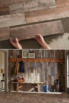Wall in mudroom. Looks like barn wood.