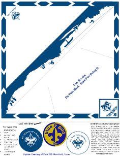 Akela's Council Cub Scout Leader Training: Cub Scout Blue & Gold Banquet Dinner Invitation Printable Ideas that look like Cub Scout Neckerchiefs