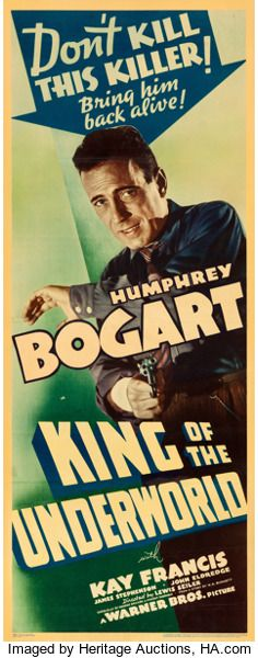 "Movie Posters:Crime, King of the Underworld (Warner Brothers, 1939). Linen Finish Insert(14.25"" X 36"").. ..."