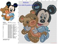 Baby Disney Mickey Mouse with teddy bear free cross stitch pattern 98 x 109 21 colors