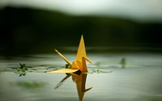 Floating origami crane